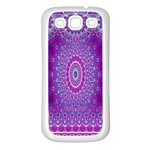 India Ornaments Mandala Pillar Blue Violet Samsung Galaxy S3 Back Case (White) Front
