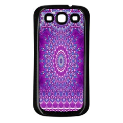 India Ornaments Mandala Pillar Blue Violet Samsung Galaxy S3 Back Case (Black)
