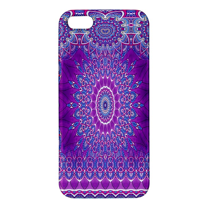 India Ornaments Mandala Pillar Blue Violet iPhone 5S/ SE Premium Hardshell Case