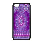 India Ornaments Mandala Pillar Blue Violet Apple iPhone 5C Seamless Case (Black) Front