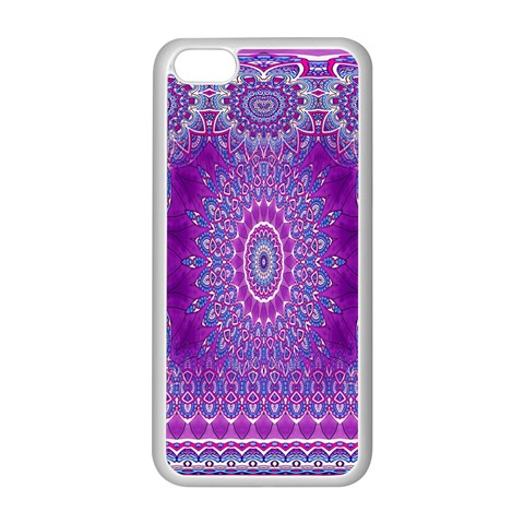 India Ornaments Mandala Pillar Blue Violet Apple iPhone 5C Seamless Case (White)