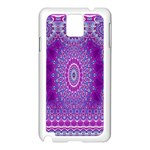 India Ornaments Mandala Pillar Blue Violet Samsung Galaxy Note 3 N9005 Case (White) Front
