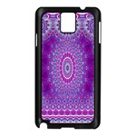 India Ornaments Mandala Pillar Blue Violet Samsung Galaxy Note 3 N9005 Case (Black) Front