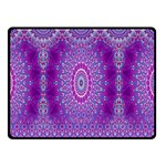 India Ornaments Mandala Pillar Blue Violet Double Sided Fleece Blanket (Small)  50 x40 Blanket Front