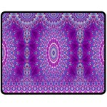India Ornaments Mandala Pillar Blue Violet Double Sided Fleece Blanket (Medium)  60 x50 Blanket Front