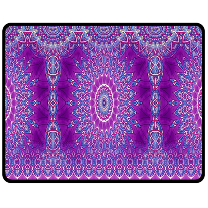 India Ornaments Mandala Pillar Blue Violet Double Sided Fleece Blanket (Medium)