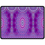 India Ornaments Mandala Pillar Blue Violet Double Sided Fleece Blanket (Large)  80 x60 Blanket Front