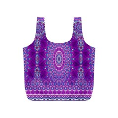 India Ornaments Mandala Pillar Blue Violet Full Print Recycle Bags (S)