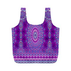India Ornaments Mandala Pillar Blue Violet Full Print Recycle Bags (M)