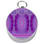 India Ornaments Mandala Pillar Blue Violet Silver Compasses Front