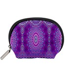 India Ornaments Mandala Pillar Blue Violet Accessory Pouches (Small)  Front