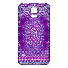 India Ornaments Mandala Pillar Blue Violet Samsung Galaxy S5 Back Case (White)