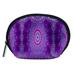 India Ornaments Mandala Pillar Blue Violet Accessory Pouches (Medium)