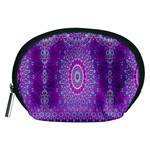 India Ornaments Mandala Pillar Blue Violet Accessory Pouches (Medium)  Front