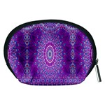 India Ornaments Mandala Pillar Blue Violet Accessory Pouches (Medium)  Back
