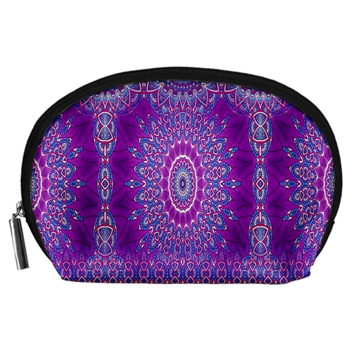 India Ornaments Mandala Pillar Blue Violet Accessory Pouches (Large)