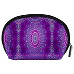 India Ornaments Mandala Pillar Blue Violet Accessory Pouches (Large)  Back