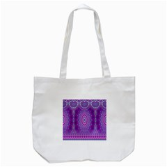 India Ornaments Mandala Pillar Blue Violet Tote Bag (White)