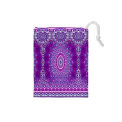 India Ornaments Mandala Pillar Blue Violet Drawstring Pouches (Small)