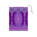 India Ornaments Mandala Pillar Blue Violet Drawstring Pouches (Medium)  Front