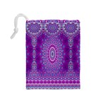 India Ornaments Mandala Pillar Blue Violet Drawstring Pouches (Medium)  Back