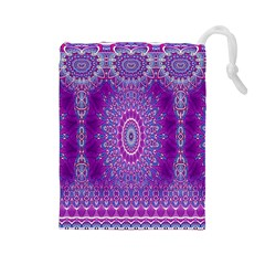 India Ornaments Mandala Pillar Blue Violet Drawstring Pouches (large)