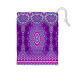 India Ornaments Mandala Pillar Blue Violet Drawstring Pouches (Large)  Front