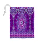 India Ornaments Mandala Pillar Blue Violet Drawstring Pouches (Large)  Back