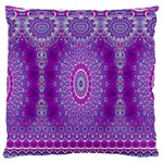 India Ornaments Mandala Pillar Blue Violet Standard Flano Cushion Case (One Side) Front