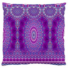 India Ornaments Mandala Pillar Blue Violet Large Flano Cushion Case (One Side)