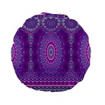 India Ornaments Mandala Pillar Blue Violet Standard 15  Premium Flano Round Cushions Back
