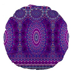 India Ornaments Mandala Pillar Blue Violet Large 18  Premium Flano Round Cushions