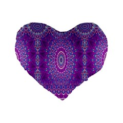 India Ornaments Mandala Pillar Blue Violet Standard 16  Premium Flano Heart Shape Cushions
