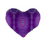 India Ornaments Mandala Pillar Blue Violet Standard 16  Premium Flano Heart Shape Cushions Front