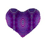 India Ornaments Mandala Pillar Blue Violet Standard 16  Premium Flano Heart Shape Cushions Back
