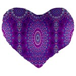 India Ornaments Mandala Pillar Blue Violet Large 19  Premium Flano Heart Shape Cushions Front