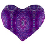 India Ornaments Mandala Pillar Blue Violet Large 19  Premium Flano Heart Shape Cushions Back