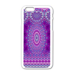 India Ornaments Mandala Pillar Blue Violet Apple iPhone 6/6S White Enamel Case