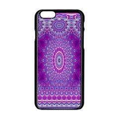 India Ornaments Mandala Pillar Blue Violet Apple iPhone 6/6S Black Enamel Case