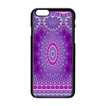 India Ornaments Mandala Pillar Blue Violet Apple iPhone 6/6S Black Enamel Case Front