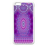 India Ornaments Mandala Pillar Blue Violet Apple iPhone 6 Plus/6S Plus Enamel White Case Front