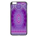 India Ornaments Mandala Pillar Blue Violet Apple iPhone 6 Plus/6S Plus Black Enamel Case Front