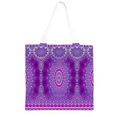 India Ornaments Mandala Pillar Blue Violet Grocery Light Tote Bag