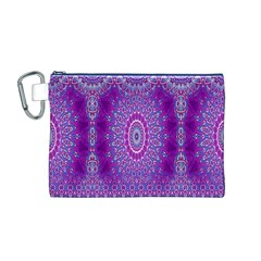 India Ornaments Mandala Pillar Blue Violet Canvas Cosmetic Bag (M)