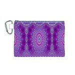 India Ornaments Mandala Pillar Blue Violet Canvas Cosmetic Bag (M) Front