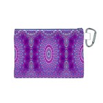 India Ornaments Mandala Pillar Blue Violet Canvas Cosmetic Bag (M) Back