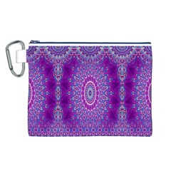 India Ornaments Mandala Pillar Blue Violet Canvas Cosmetic Bag (L)