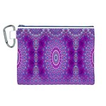 India Ornaments Mandala Pillar Blue Violet Canvas Cosmetic Bag (L) Front