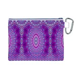 India Ornaments Mandala Pillar Blue Violet Canvas Cosmetic Bag (L) Back
