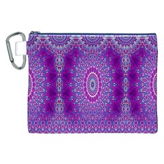 India Ornaments Mandala Pillar Blue Violet Canvas Cosmetic Bag (XXL)